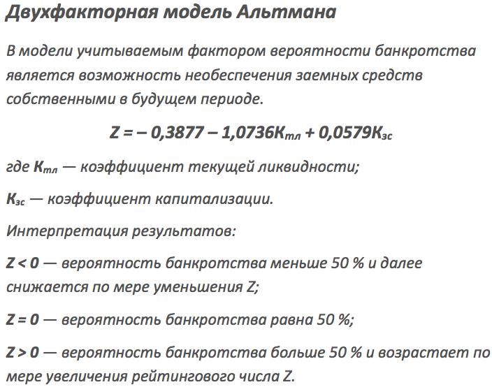 оценка банкротства предприятии по альтману